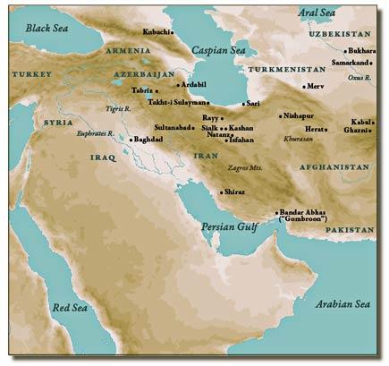 persian ceramics map
