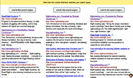 Blind testing search engines – Right Reading
