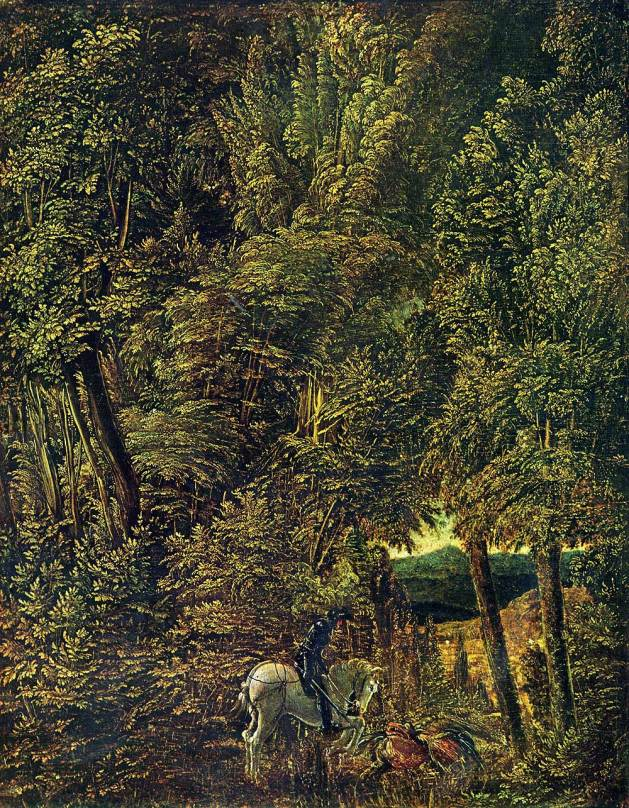 Countryside of Woods with Saint George Fighting the Dragon, 1510, by Albrecht Altdorfer (German, 1480-1538). Oil and parchment on linden wood, 8.9 × 11.1 in. Alte Pinakothek, Munich.