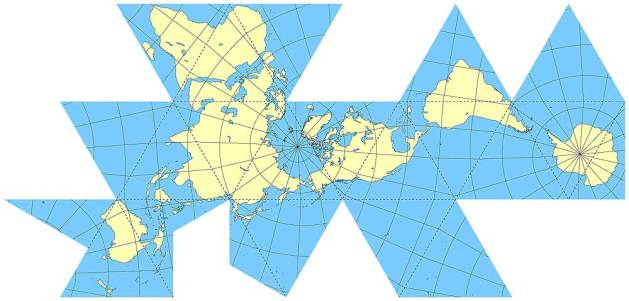 Dymaxion world map, 1943, by Buckminster Fuller (American, 1895–1983). It is difficult to represent a sphere on a rectangle. Fuller's map shows the adjacency of the earth's land masses, with minimal size distortion.