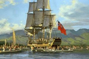 HMS Bounty arrives in Tahiti 1788 (Painting by Jon Clayton)