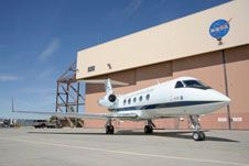 The modified Gulfstream II outside its hanger.