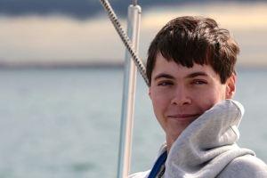 Ryan Harris aboard Gone Native outside Ventura Harbor (photo Dina Pielaet)