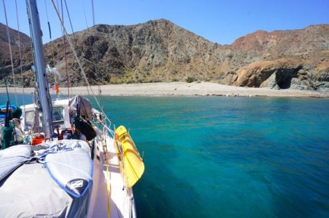 Kandu anchored in the clear waters of Northeastern Cedros Island.
