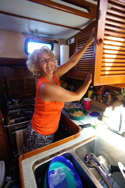 Leslie in the galley (photo by Eric)
