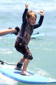 Bryce surfing Waikiki at age 6.