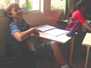 Trent in English class. He is all smiles in that class!