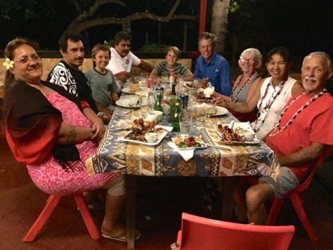Goodbye dinner at Muana Nui Restaurant with Heloise, Pifa, Sebastien and Raymonde