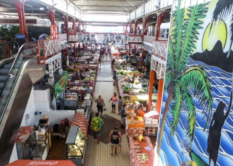 The downtown Papeete open food marketplace as seen from upstairs.