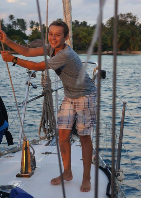 Trent very happy to be anchored in North Fakarava after 5 days at sea!