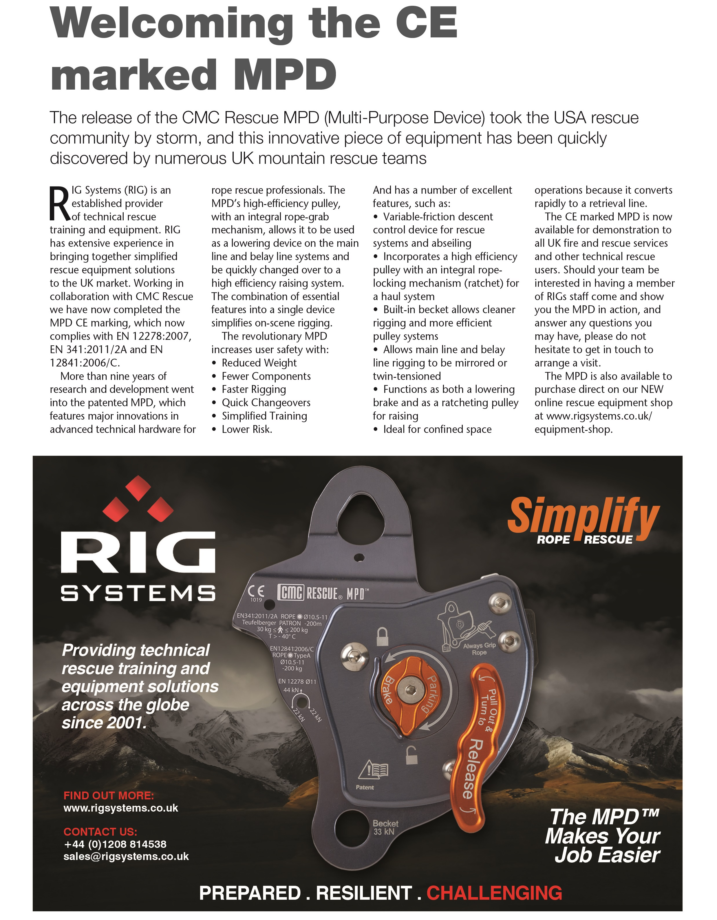 CMC Rescue MPD (multi purpose device) article, FIRE magazine, RIG Systems