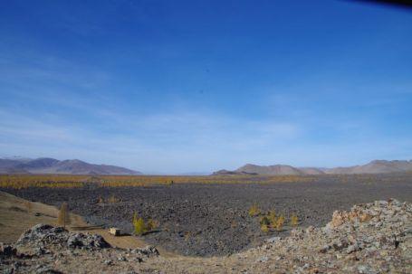 Blick über das Tal des ca. 7000 Jahre alten Lavastroms und unserem Übernachtungsplatz