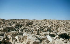 Kein Vulkangestein, sondern das Ruinenfeld Umm-ar-Rasas ...