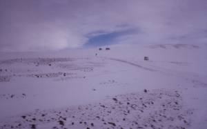 Schneesturm auf dem Gletscher