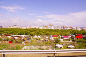 Ulan Bator von Süden aus gesehen - Unser Ziel: Das Guesthouse Oasis...