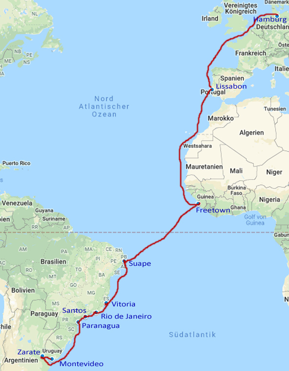 Frachtschiffroute nach Suedamerika