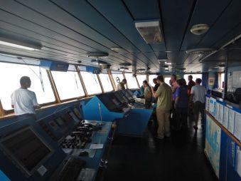 Auf dem Törn nach Südamerika -Führung auf der Kommandobrücke...