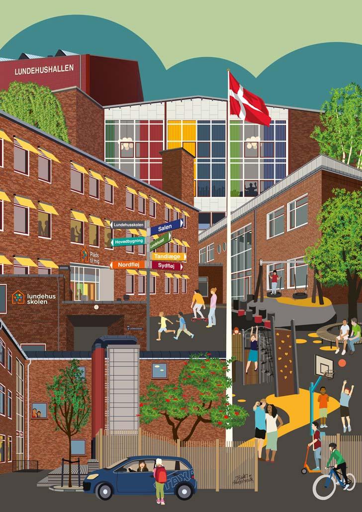 Lundehusskolen i Emdrup - de forskellige bygninger