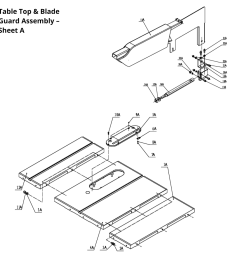 available part diagram assemblies table top blade guard assembly sheet a  [ 1000 x 1000 Pixel ]