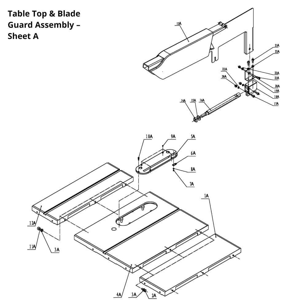 hight resolution of available part diagram assemblies table top blade guard assembly sheet a