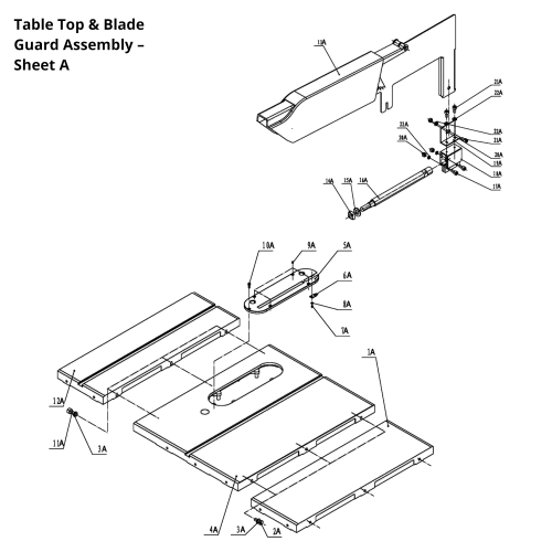 small resolution of available part diagram assemblies table top blade guard assembly sheet a