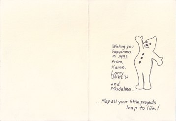 Snowman Christmas Card, 1991-inside, offset print