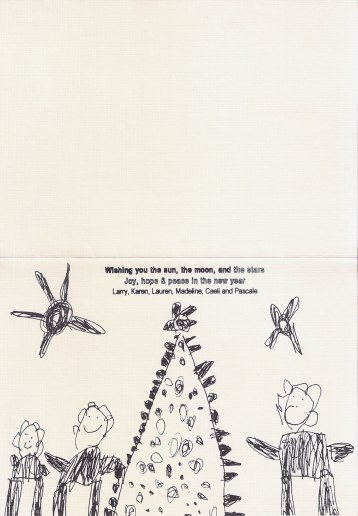 Christmas Card, 1994, inside, Madeline's drawing, offset print