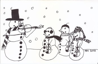 Snowman violin card 2003 - outside; drawing by Calla