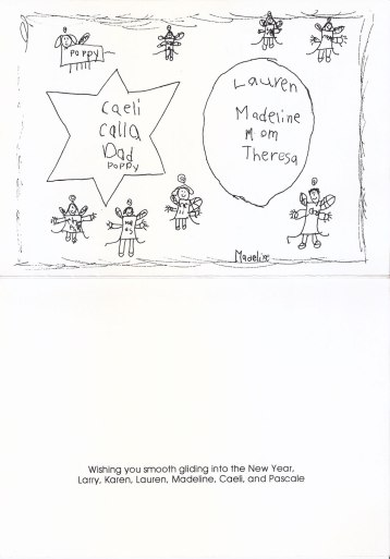 Holiday Card 1996, inside; drawing by Madeline