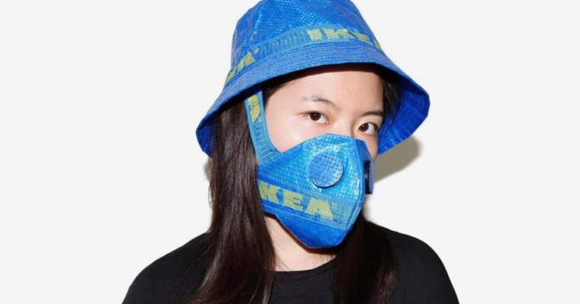 The famous IKEA bag was turned into a protective mask