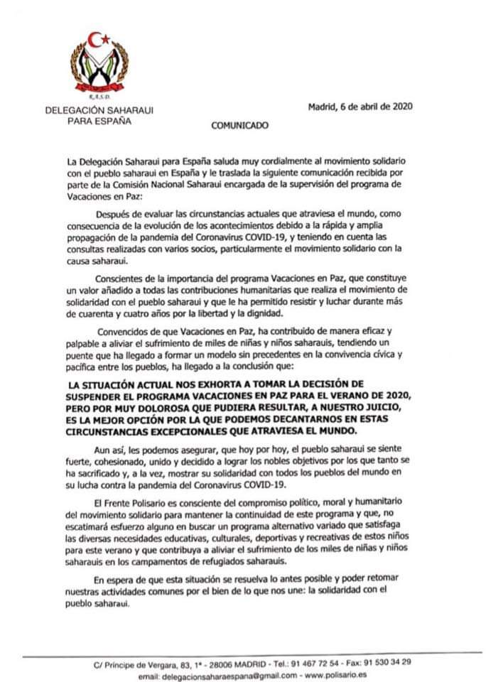 Suspensión del programa Vacaciones en Paz 2020