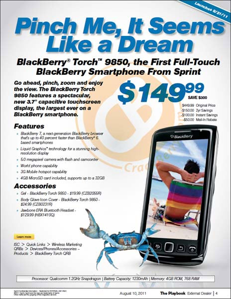 Sprint BlackBerry Bold 9930 and BlackBerry Torch 9850 Launching August 21st