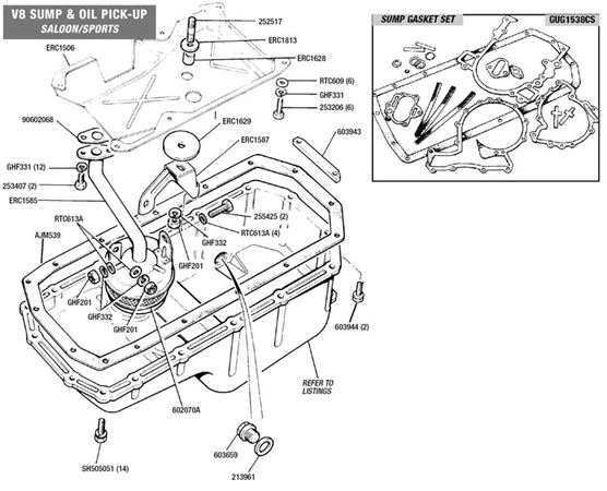 90-110 and Defender V8 Sump Pan and Oil Pick-Up Pipe