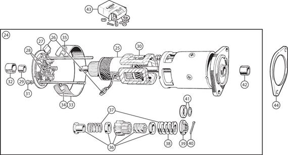 Triumph TR3A from TS50001, TR4, TR4A Starter Motor Type B