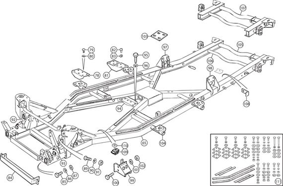 Triumph TR4 Chassis Repair Sections and Attachments