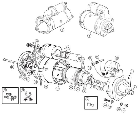 Triumph TR6 Starter Motor and Components to CP53636
