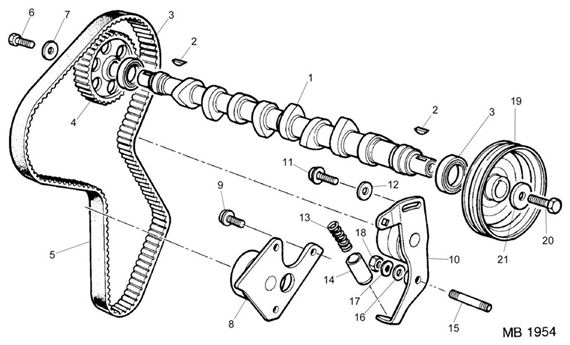 Rover 200/400 to 95 Camshaft, Timing Belt from E4014120