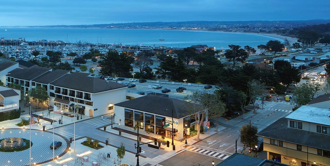 Overhead view of the Monterey bay.
