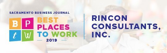 Sacramento Business Journal's Best Place to Work 2019 Logo with Rincon Consultants, Inc.