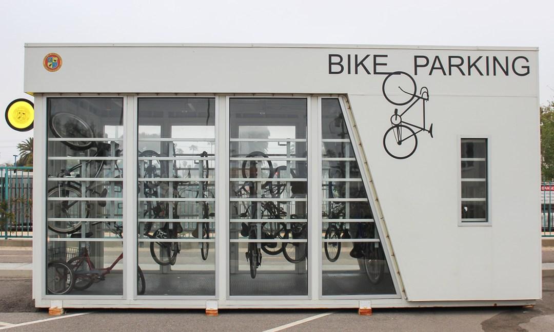 Bike Parking Center with Bikes hanging inside.