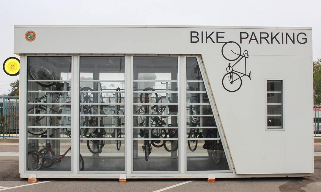 Bike Parking Center with Bikes hanging inside.