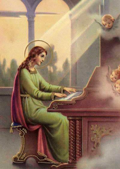 Estampita de Santa Cecilia