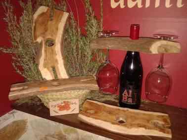 Soporte copas en madera