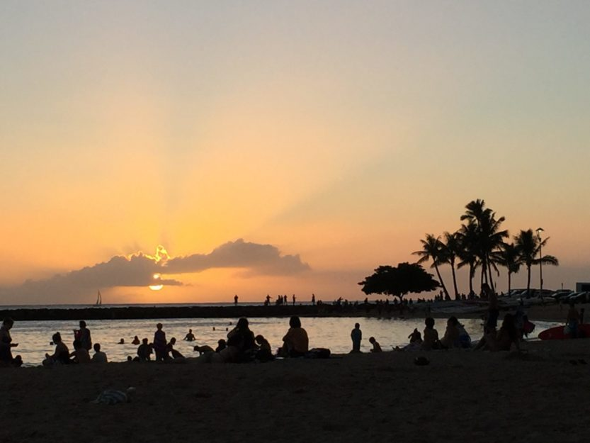 Sunset and Waikiki Beach