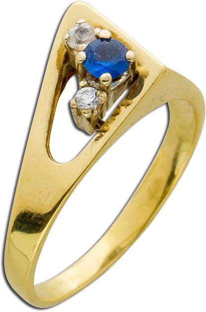 Ring Antik avantgardistisch Gelbgold 585 60er Jahren feiner Saphir Designer Schmuck  Goldringe