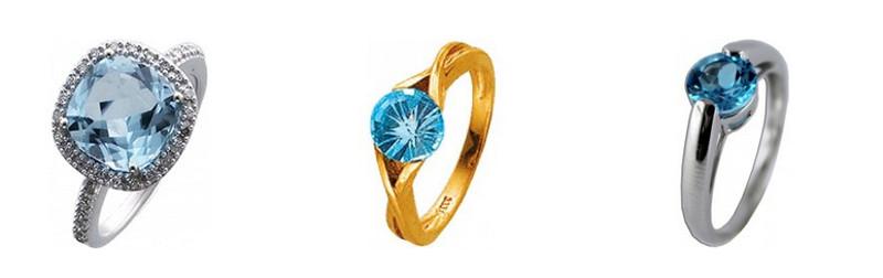 Topas Ring Gold Silber Blautopasringe Edelstein