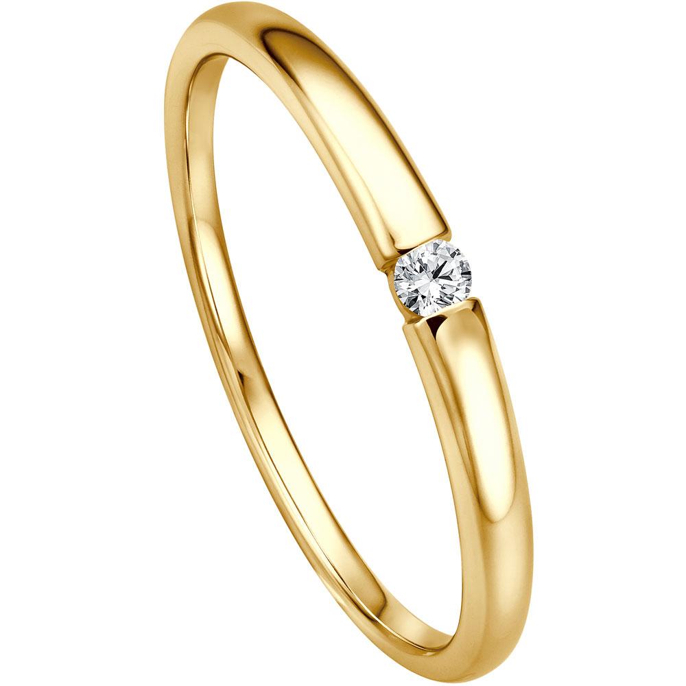 Edler Verlobungsring in Spannringoptik aus 585 Gelbgold