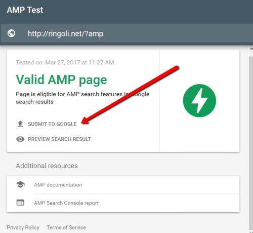 提交amp 網頁到 Google