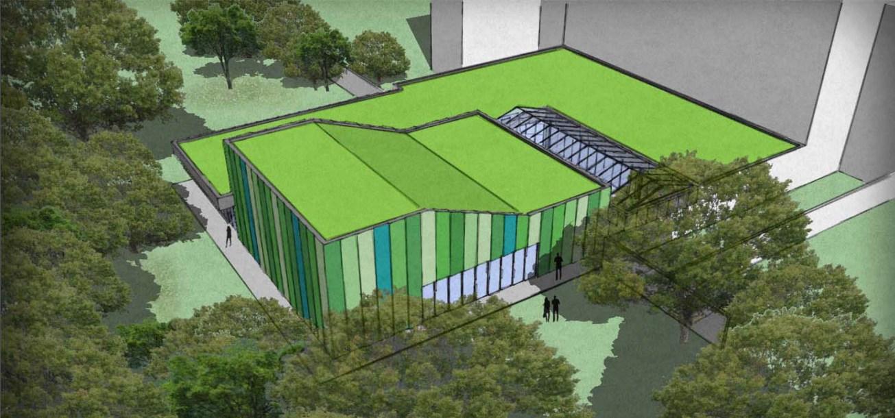 rendering kantoorgebouw met polyvalente ruimte te Antwerpen