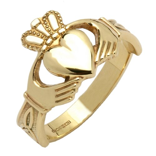 Gents Trinity Knot Yellow Gold Claddagh Ring